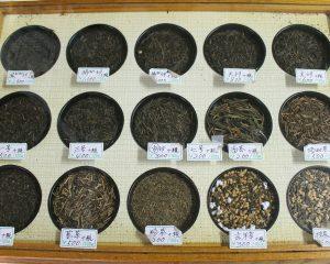 さまざまな種類のお茶の見本
